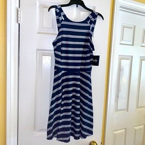 By&By Junior's Navy Striped Casual Dress